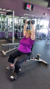 Laurie Hoffman, back in the gym after breaking both her hand and foot!