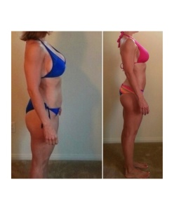 Shellie side before and after Shaila fitness